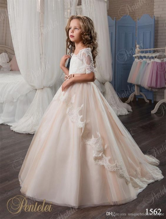 2017 Vintage Flower Girls Dresses Pentelei With Bow And 2/1 Sleeves Ball Gown Champagne Tulle Little Girls Gowns For Party And Prom White Girl Dresses Affordable Flower Girl Dresses From Uniquebridalboutique, $87.14| Dhgate.Com