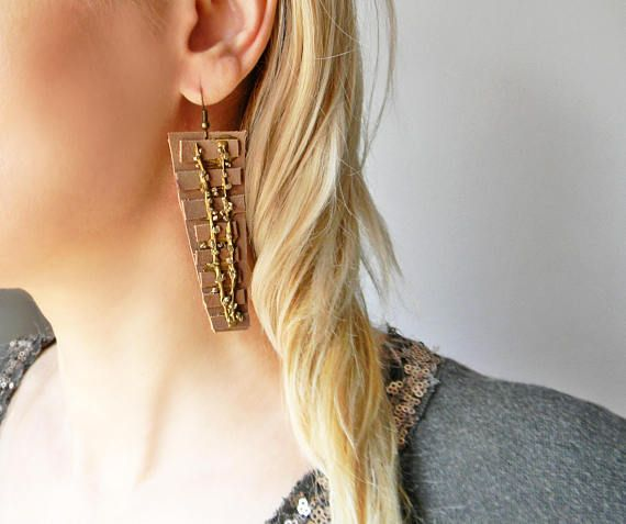 Abstract contemporary long leather earrings with bronze