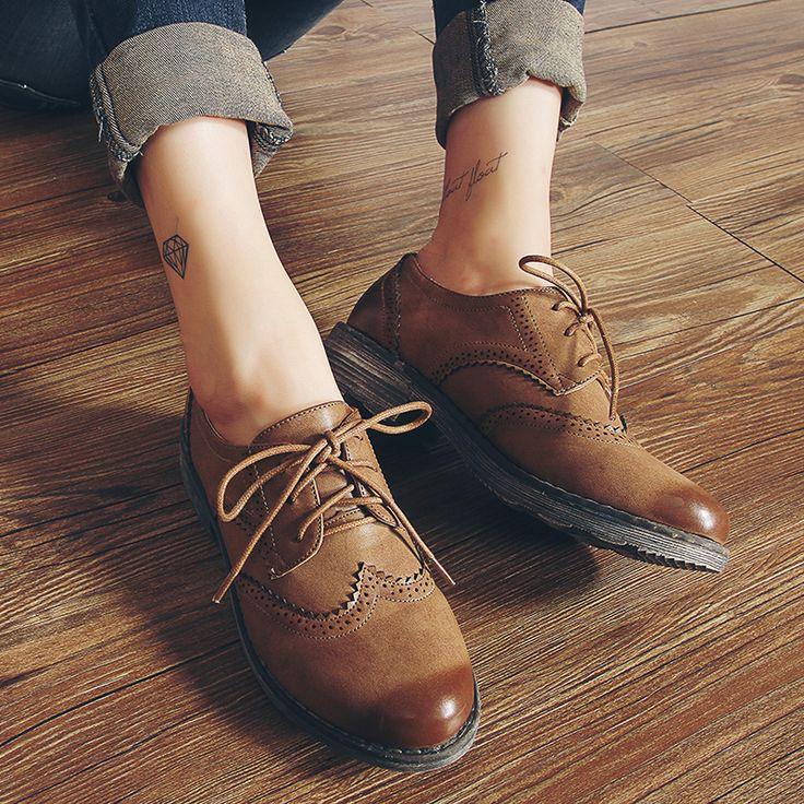 FLAT Oxford Shoes Woman Autumn Flats 2016 Fashion Brogue Oxford Women Shoes  moccasins sapatos femininos sapatilhas