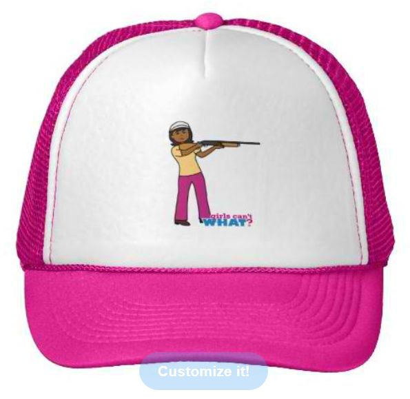 "100% polyester foam front     Wide area to feature your design     100% nylon mesh back keeps you cool     Adjustable from 17"" to 24""     Available in 11 color combinations http://www.girlscantwhat.com/personalized-gifts/hunting-girl/   #girlscantwhat #girlpower #hunting #hat"