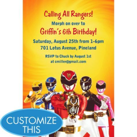 The 42 best images about Andres 6 th Birthday – Power Rangers Party Invitations