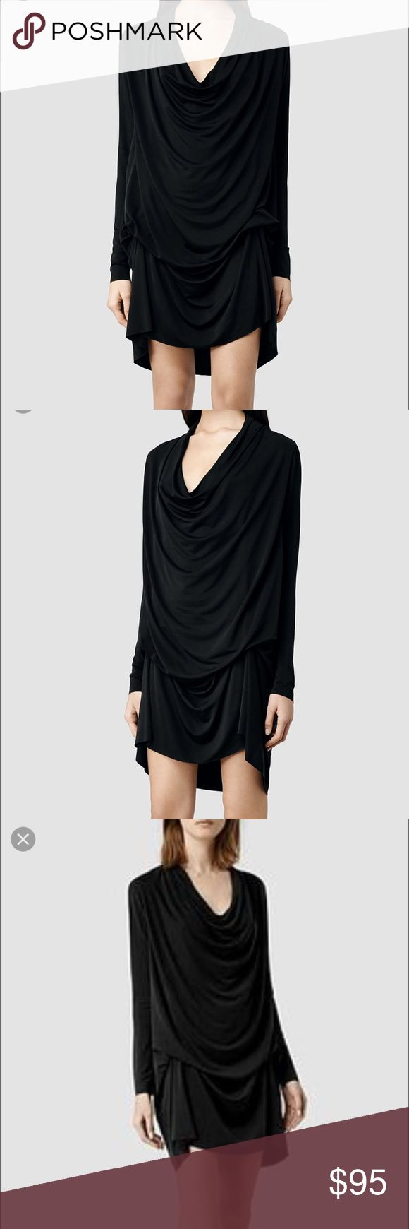 Allsaints Amei Dress Authentic Allsaints Amei dress in black. Size US 4, but fits more like a 6. Stretchy and can really fit up to an 8 or 10 depending on how you like the fit! Great condition! Almost never on sale! Adjustable neck ties to determine different lengths All Saints Dresses