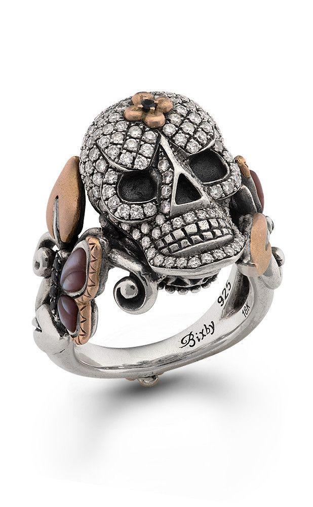 Roses Never Die Skull Ring – Diamond, Black Sapphire & Pink Mother of – Barbara Bixby