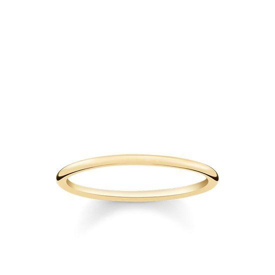 THOMAS SABO Ring aus der Sterling Silver Kollektion. - Zierlicher Klassiker - Zarte Eleganz - Romantischer Liebesbeweis Zarter Bandring in Gelbgold-Vergoldung – bis heute gilt dieser Klassiker als einzigartiger Liebesbeweis. [Artikeltabelle]Kategorie:Ring Material:925er Sterlingsilber; 750er Gelbgold Vergoldung Maße:Breite ca. 0,1 cm (0,04 Inch) Artikelnummer:TR2123-413-12[/Artikeltabelle]