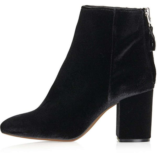 TOPSHOP MONEY Back Zip Velvet Ankle Boots ($120) ❤ liked on Polyvore featuring shoes, boots, ankle booties, black, topshop, black ankle bootie, black boots, ankle boots, short boots and black velvet booties