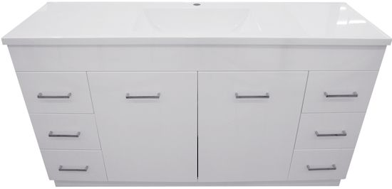 Alpha Sierra Polymarble 1500mm Vanity  With this new model of Sierra vanity you cannot go wrong. The new square handles and the slim line body makes this vanity a perfect match in any bathroom.  The Sierra top is made out of polymarble which is a durable and long lasting Material.