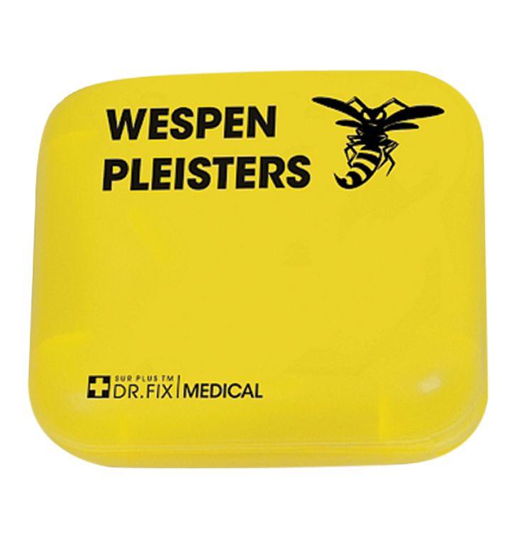 Dr. Fix Medical Wespenpleisters  Description: Deze set van 5 wespenpleisters hoort in elke EHBO-kist thuis. Helpt tegen pijn en zwelling door wespensteken. De pleisters zijn naderhand makkelijk en pijnloos te verwijderen en laten geen plakresten achter.  Price: 9.99  Meer informatie