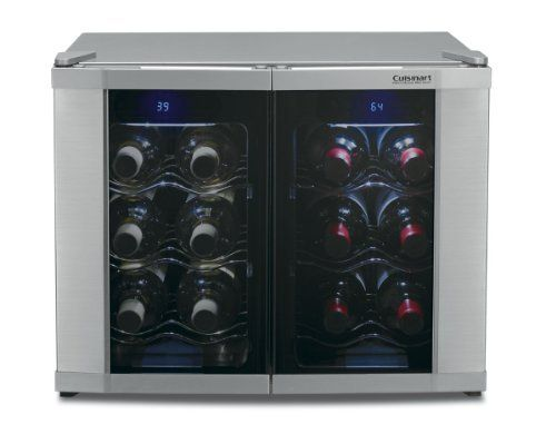 Cuisinart CWC-1200DZ 12-Bottle Dual Zone Wine Cellar by Cuisinart. $273.33. Store up to 12 bottles of wine at the temperatures that preserve their integrity, with the new DualZone Wine Cellar from Cuisinart. With a temperature range of 39° – 68°F, this dual compartmentcellar keeps whites, champagnes and reds chilled at expert-recommended temperatures. Whetherfor a glass of wine with a meal or as an end-of-day indulgence, Cuisinart delivers the ultimate wineexperience.