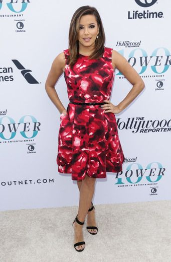 Actress Eva Longoria stunned in a fit and flare dress from her Eponymous Collection with The Limited.
