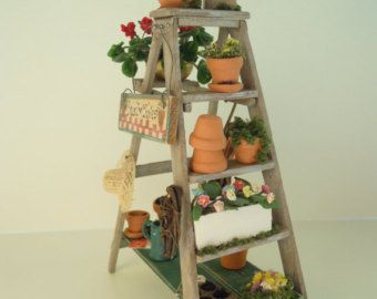 Dollhouse Step Ladder Garden Workstation and Plant Stand with Miniature Flowers/Sign/Birdhouse/Clay Pots for Doll House in 1 12th Scale