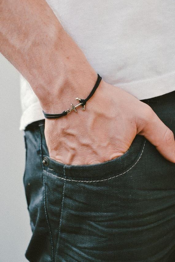 Anker Armband Herren Armband Silber Anker Schwarze Kordeln