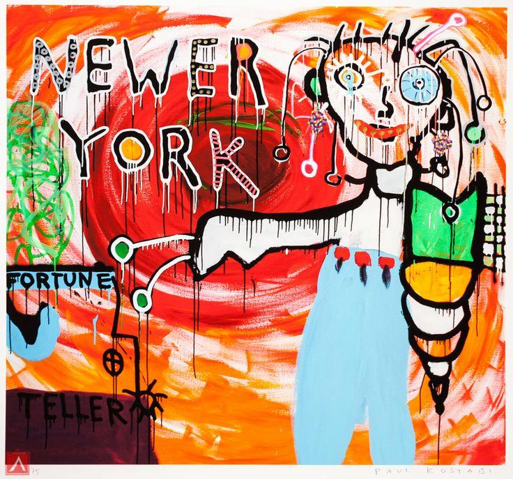 "Paul Kostabi: ""Newer York"" (2013) is a handsigned & numbered gliclée."