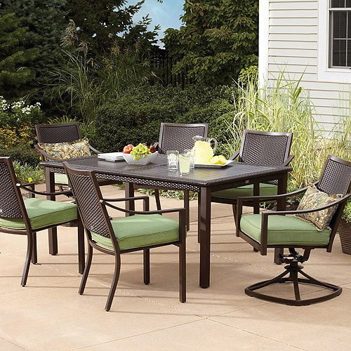Glendale Mixed Media 7 Piece Patio Dining Set, Seats 6: Patio Furniture :