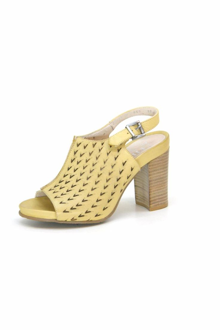 "Pale yellow shoe is super cute on and pairs nicely with all of your fun summer outfits. Thick heel provides stability and comfort perfect for a lot of walking!  Heel height approx 3.25""  Fidji Yellow Heel by Fidji. Shoes - Pumps & Heels - Mid Heel California"