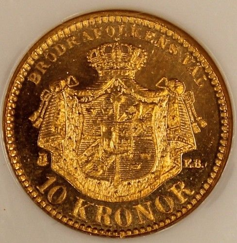 "1901 Sweden 10 Kronor Gold NGC MS66 Choice Gem Original ""Cameo"" KM# 767 Estimate…..$500.+"
