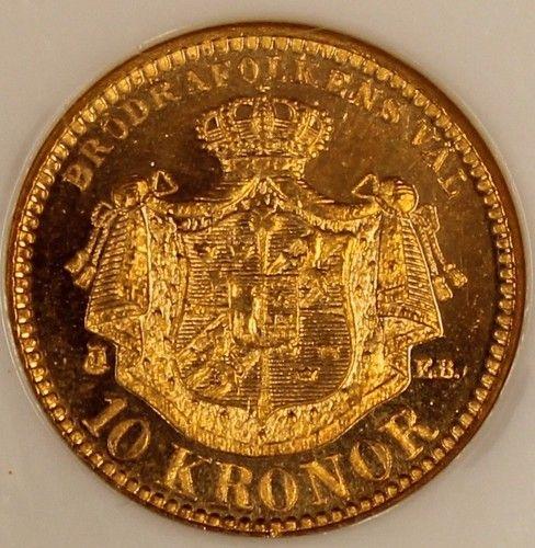 """1901 Sweden 10 Kronor Gold NGC MS66 Choice Gem Original """"Cameo"""" KM# 767 Estimate…..$500.+"""