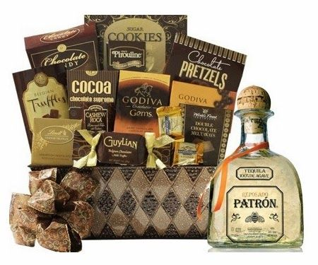 Patron Reposado Tequila Basket  Patron Tequila Reposado 750 ml Godiva chocolate Gems Lindt Lindor assorted truffles Godiva chocolate covered pretzels Pirouline chocolate wafers Brown & Haley cashew roca chocolate pretzels Godiva dark chocolate truffles Ghirardelli caramel chocolate Guylian chocolate Sugar cookies Chocolate candy Cocoa supreme Milk chocolate truffles World's Finest double chocolate meltaways Price: $165.00  #tequila #gift #patron #snacks