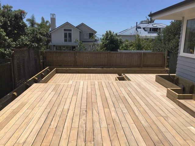 Backyard pine decking- optimal solution for small areas