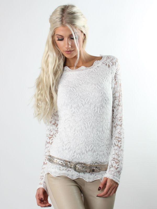 Basica - Hvid boheme basic bluse med blonder og lange ærmer