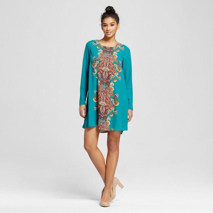Women's Placed-print Shift Dress Green Xxl - Xhilaration (Juniors')