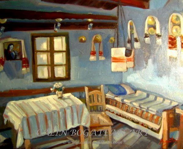 Interior țărănesc românesc peisaj în ulei pictură pe pânză peisagistică realistă hiperrealistă pe pânză picturi executate de pictorul comtemporan Călin Bogătean membru al Uniunii Artistilor Profesionisti din Romania. Peisaje originale unicat Interior țărănesc românesc