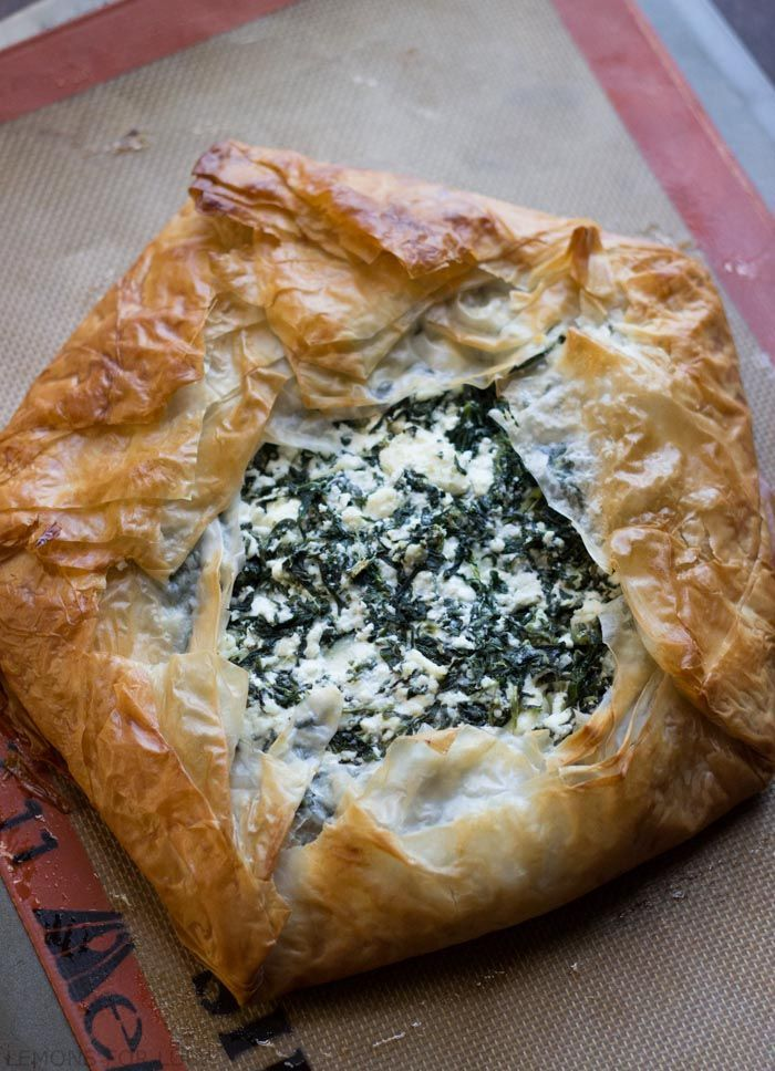 The modern day spanakopita! Spinach and feta are the filling to this buttery, flakey phyllo pie. www.lemonsforlulu.com