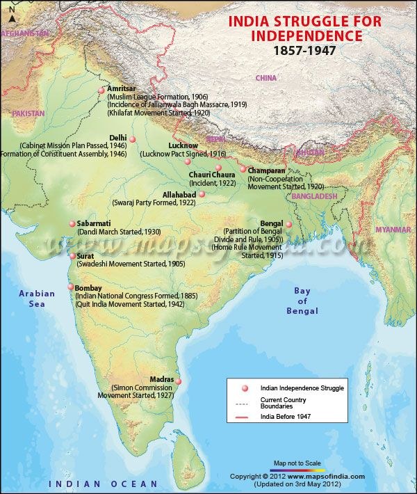 india struggle for independence map