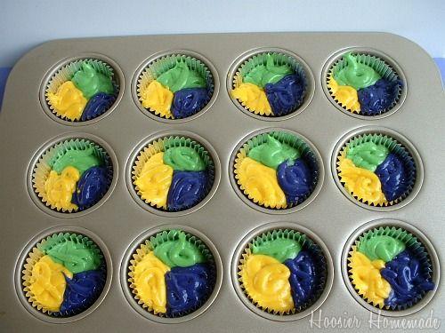 Batter for Mardi Gras cupcakes