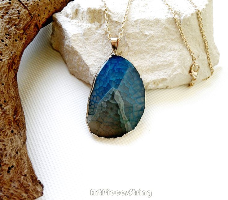TURQUOISE veined stone TEARDROP pendant NECKLACE long chain SILVER TONE gemstone