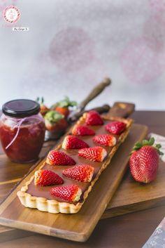 Pie de Chocolate y mermelada de fresas. Receta Vegana