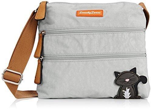 Oferta: 18.81€. Comprar Ofertas de SwankySwansRiley Cat Designer - Bolso bandolera mujer , color gris, talla Talla única barato. ¡Mira las ofertas!