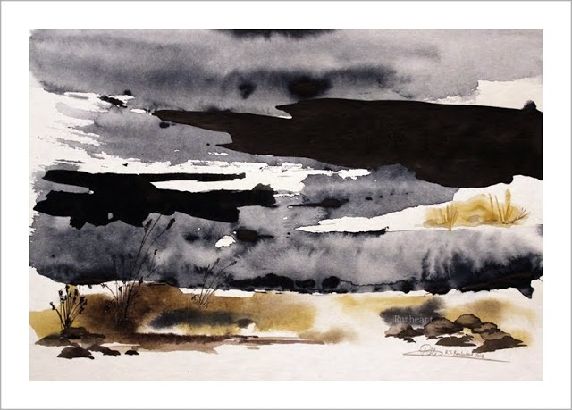 Melting snow - Watercolour by R.T.Brokstad