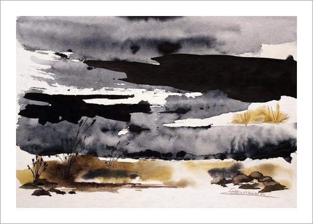 Melting snow - Watercolour by R.T.Brokstad