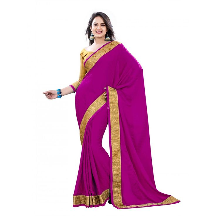 Pink Crepe and Jacquard Designer #Saree With Blouse- $48.36