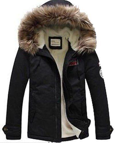 2013 Men's Faux Fur Long Winter Trench Coat Jacket Hooded Parka Overcoat