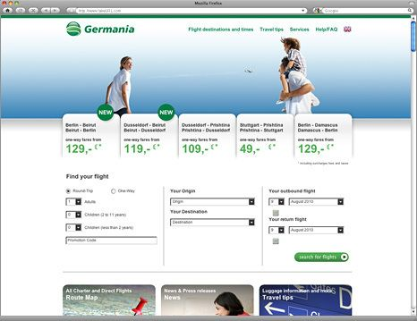 GERMANIA AIRLINE Corporate Site by HOPE GLORY , via Behance