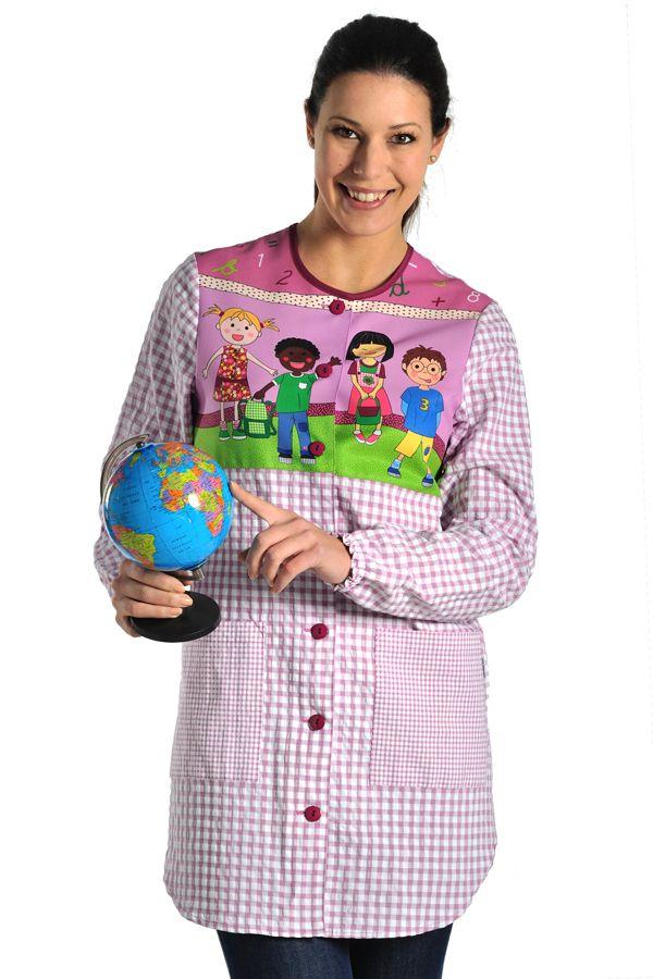 Bata children Dyneke 8390-188 para maestras de educación infantil. Divertida y práctica bata de manga larga con estampado de niños multiraciales. http://www.dyneke.com/escolar-profesora