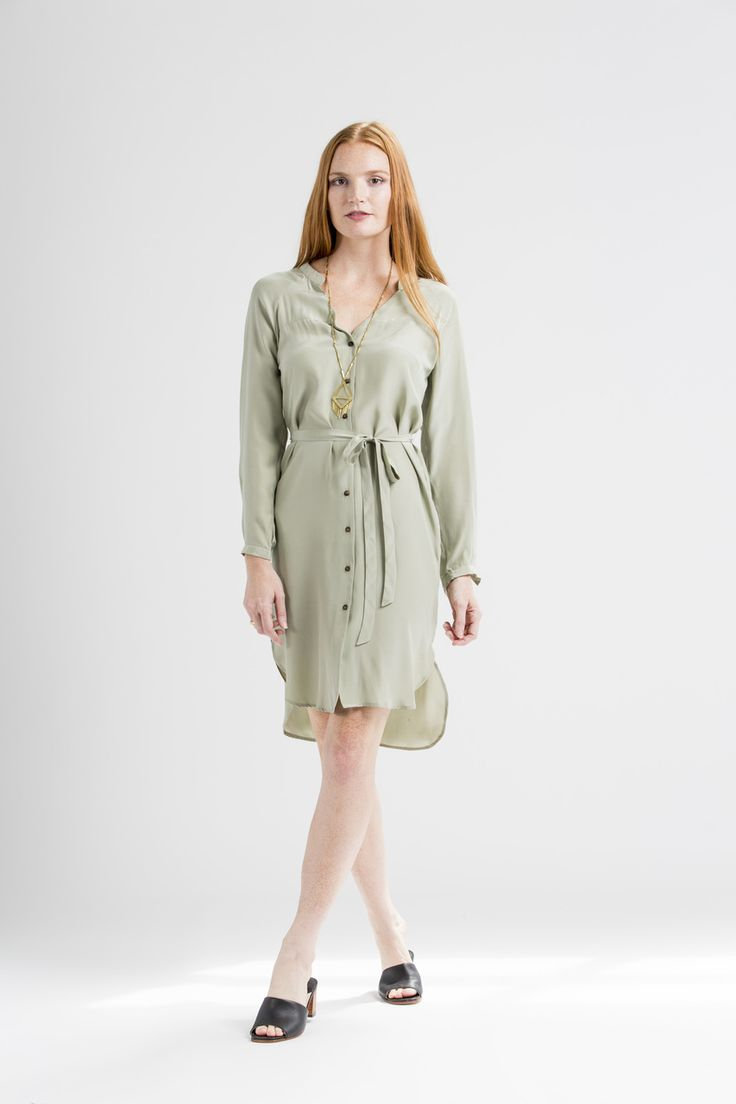 This silk tie shirt dress was made in Kenya and is eco-friendly.