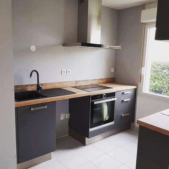 Cuisine Gris Anthracite Et Bois Cuisine Kitchen Kitchen Cabinets