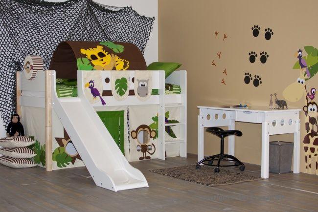 Een prachtig junglebed met glijbaan uit de Flexa White serie. Een heerlijk speelbed voor kleine kinderen.