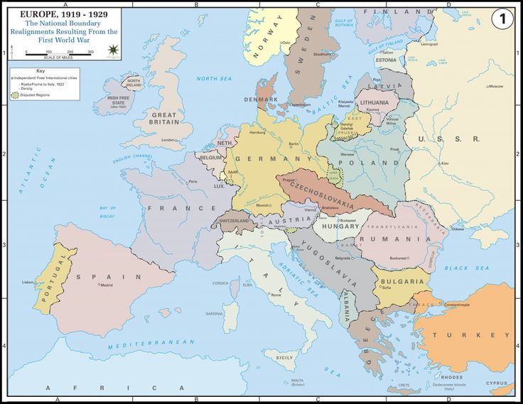 Europe after the Treaty of Versailles, 1919. New nations were carved out of Germany and Germany was  forced to give up most of their colonies. Germany was told to take responsibility for the war.