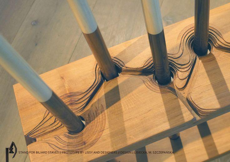 Stojak na kije bilardowe,  projekt J.Lisiecka, M. Szczepańska, prototyp LISSY projekt realizowany w ramach Dobrego Tygodnia Projektanta/ Dobrodzień
