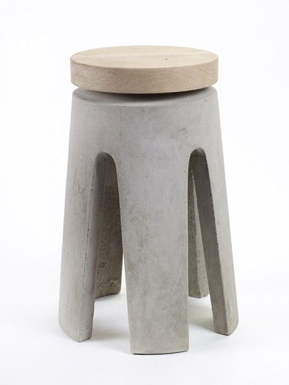 Stool Concrete Wood