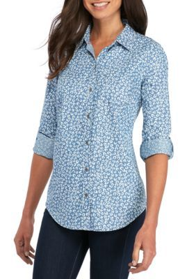 Kim Rogers Women's Chambray Animal Print Roll Sleeve Shirt - Med Wash/White - Xl
