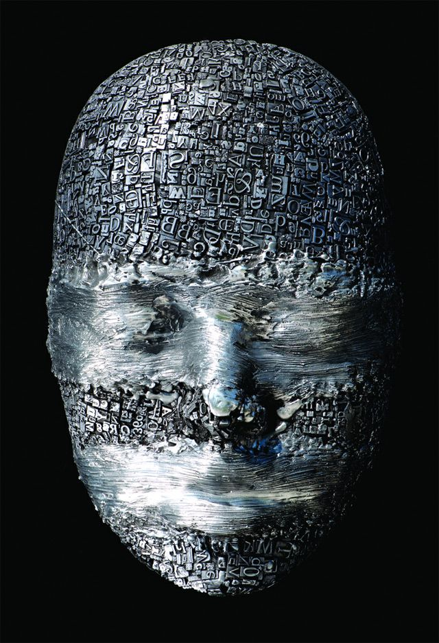 Masks and Heads Made from Moveable Type and Steel Hardware by Dale Dunning typography sculpture portraits