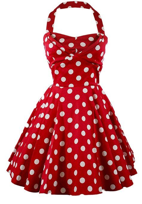 Ixia Women's Polka Dot A-Line Pinup Dress at Amazon Women's Clothing store: Red Polka Dot Dress