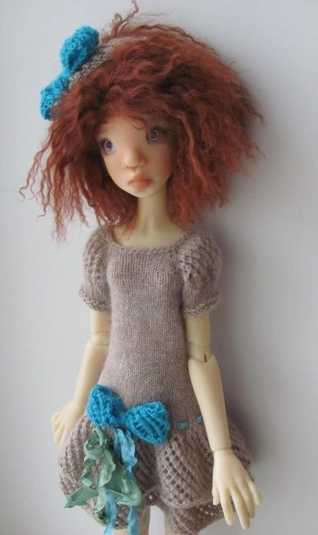 Hand Knit Doll Dress for  Kaye Wiggs SD, BJD Tobi