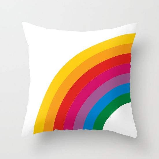 Retro Rainbow Brights - Left Throw Pillow by Circa78Designs - $20.00