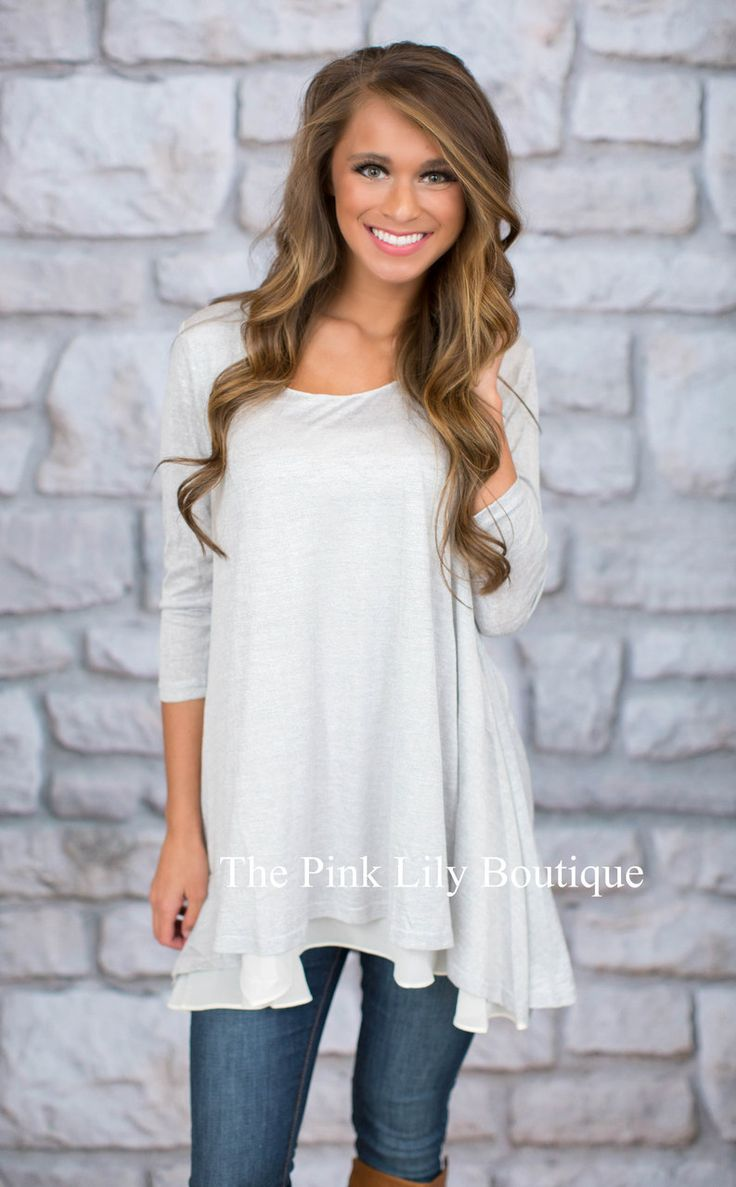 Breeze On By Silver Tunic - The Pink Lily Boutique