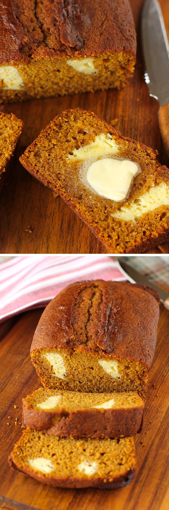 Cheesecake-Stuffed Pumpkin Bread: This bread is so moist and delicious, especially with a schmear of softened butter. Don't settle for cheesecake OR pumpkin bread when you could have both!